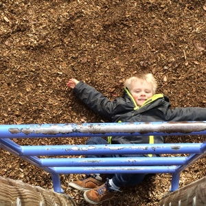 No, he didn't fall.... just making Mulch Angels.